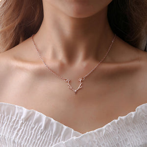 Minimalist Alloy Silver Rose Gold Antlers Chain Necklace Female Charms Chokers Necklaces for Women Jewelry Bijoux Femme Kolye-geekbuyig