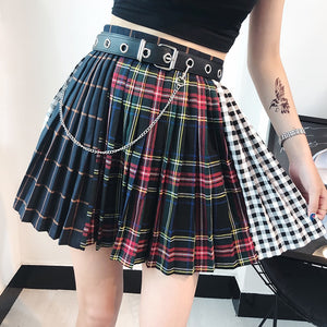 Harajuku Skirts Women Stitched Plaid Pleated Skirt High Waist A-Line Mini Skirt For Female Ladies Summer Fashion-geekbuyig