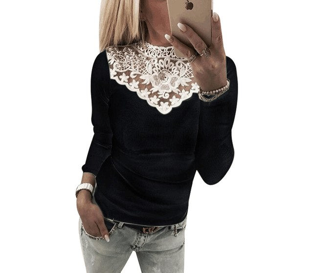 2018 Women's Long Sleeve Knitted Lace Blouse Hot Ladies Sweater Jumper tops Lace Shirt-geekbuyig