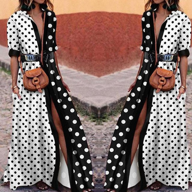 2018 Womens T-Shirt Long Maxi Dress Split Clubwear Party Solid Shirt Dress Summer Plus Size Boho Half Sleeve Swing Dots Dresses-geekbuyig
