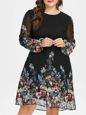 Wipalo Plus Size Floral Print Tunic Women Dress Long Sleeve Autumn Elegant Tribal Flower Print Vocation Shirt Dress Chiffon 5XL-geekbuyig