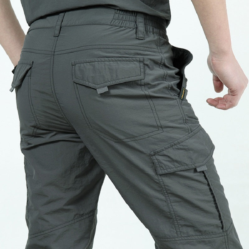 Quick Dry Casual Pants Men Summer Army Military thin Trousers Mens Tactical Cargo Pants Male lightweight Grey Navy Blue Green-geekbuyig