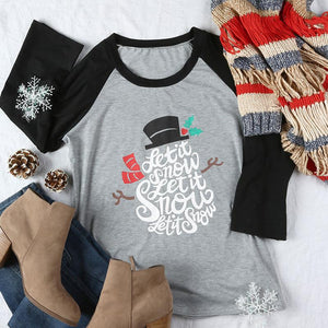 Plus Size Women T-shirt New Christmas Let It Snow Letter Print Snowman Female 3/4 Sleeve O-Neck Casual Female Ladies Tops Tee-geekbuyig