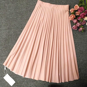 2018 Crinkle Chiffon Women Girl Skirts Spring Elastic Waist Fold Slim Skirt LONG Pleated Department Summer Download-geekbuyig