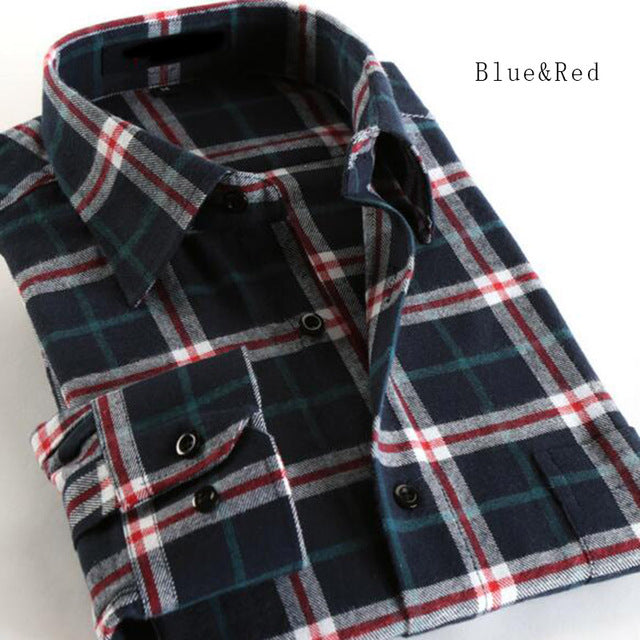 2018 Hot Sale Fashion Men Long Sleeve Thicken Warm Casual Shirts,Plaid Flannel Cotton Slim Fit Shirts Camisa Plus Size S-4XL-geekbuyig