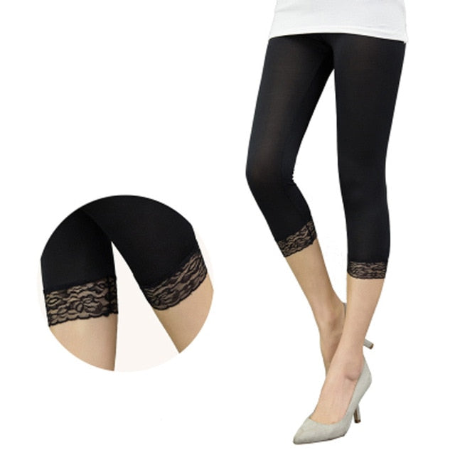 Women Crop 3/4 Length Leggings Black White Lace Decoration Leggings Summer Elastic Bodycon Jeggings-geekbuyig
