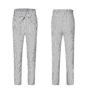 Womens Slim Fit Bow Tie Pants Multicolor Striped Lace Up Trousers Casual Plus Size Pantalones All Match Skinny Pants WS9396U-geekbuyig