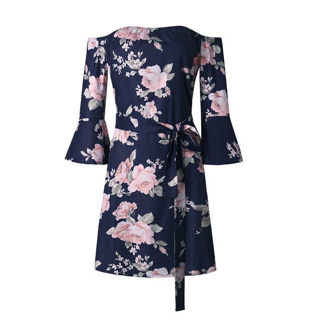 Sexy Backless Floral Print Summer Dress Women 2018 Sundress Vestidos White Sashes Flare Sleeve Women Dresses Robe Femme-geekbuyig