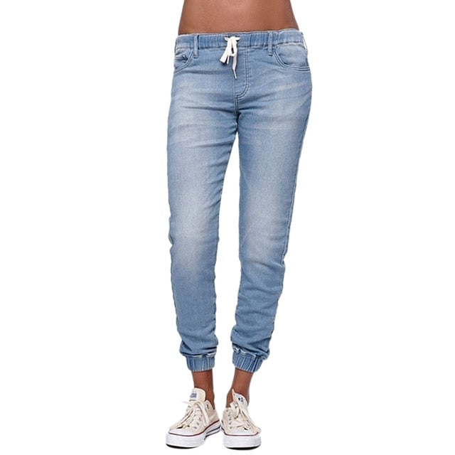 Casual Jogger Pants 2018 Elastic Sexy Skinny Pencil Jeans For Women Leggings Jeans High Waist Women's Denim Drawstring Pants-geekbuyig