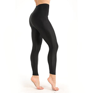 Women's Workout Leggings Casual Shiny Glossy Legging Female Fiteness Leggins Plus Size M-XXXL Black Solid Fluorescent Leggings-geekbuyig
