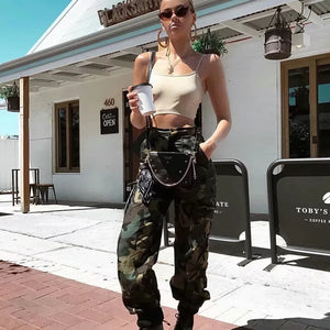 2018 Fashion Chain Military Camouflage pants women Army black high waist loose Camo Pants Trousers Street Jogger sweatpants-geekbuyig