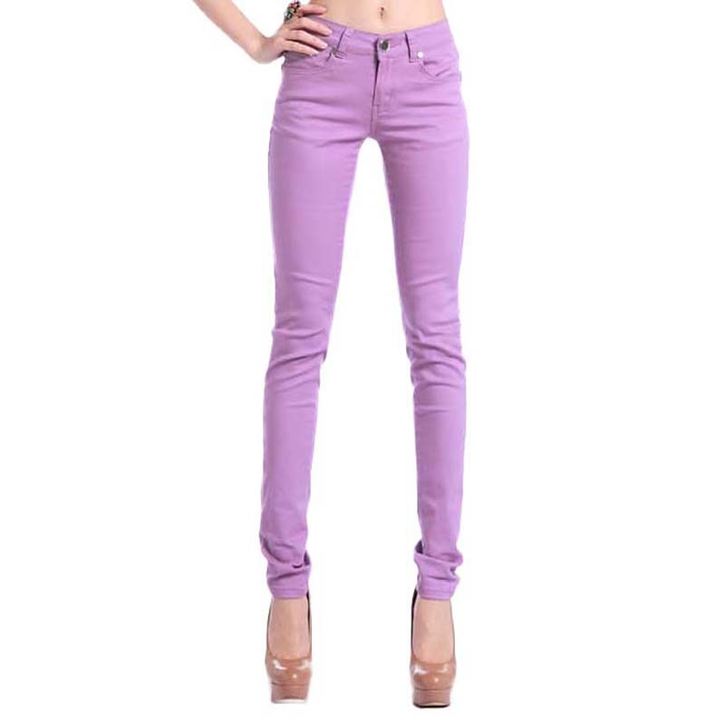 20 colors 7 size elastic fabric stretch women denim pants zipper fly cowboy ladies trousers slim candy color female jeans HM1229-geekbuyig