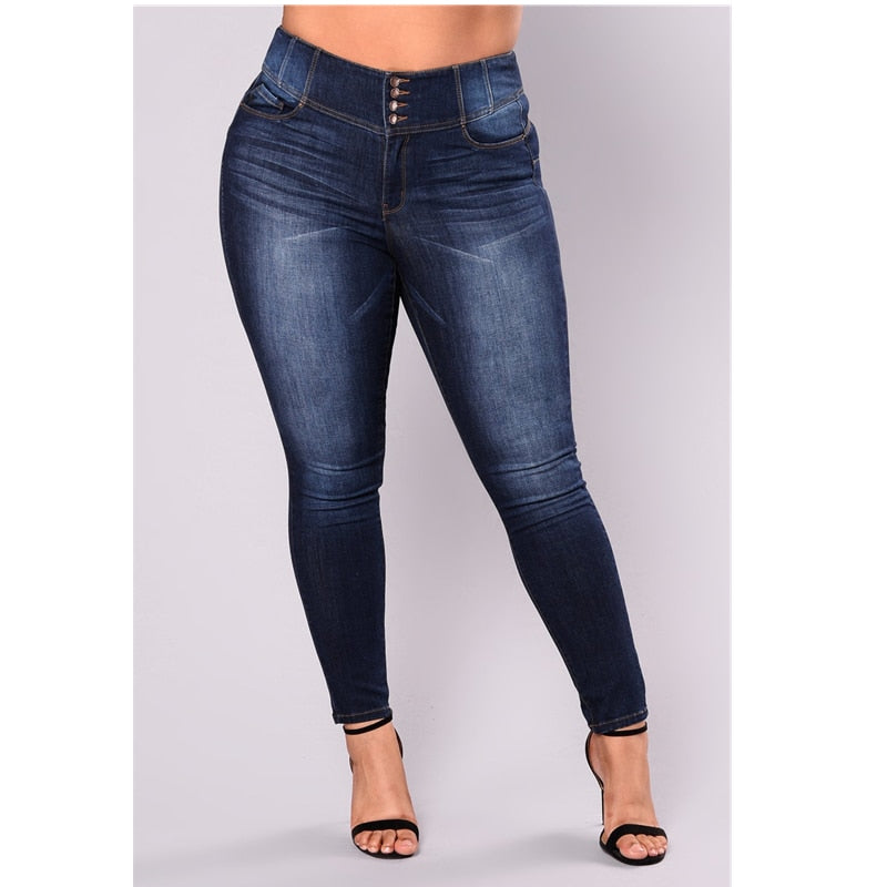 Fashion 5XL Stretch Navy Blue Jeans Women plus size Causal Trousers Female Denim Pants Zipper Fly Pencil Pants Mom Jeans-geekbuyig