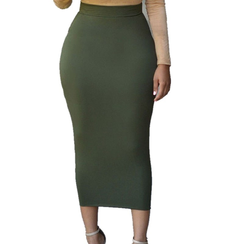 Sexy Women Lady Pencil Skirts High Waist Bodycon Straight Slim Skirt Stretch Solid Midi Skirt Long Skirts-geekbuyig
