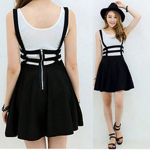 Women Cute Mini Skirts Girl Playsuit Skater Suspender Skirts Bandage Short Strap A-Line Skirts-geekbuyig