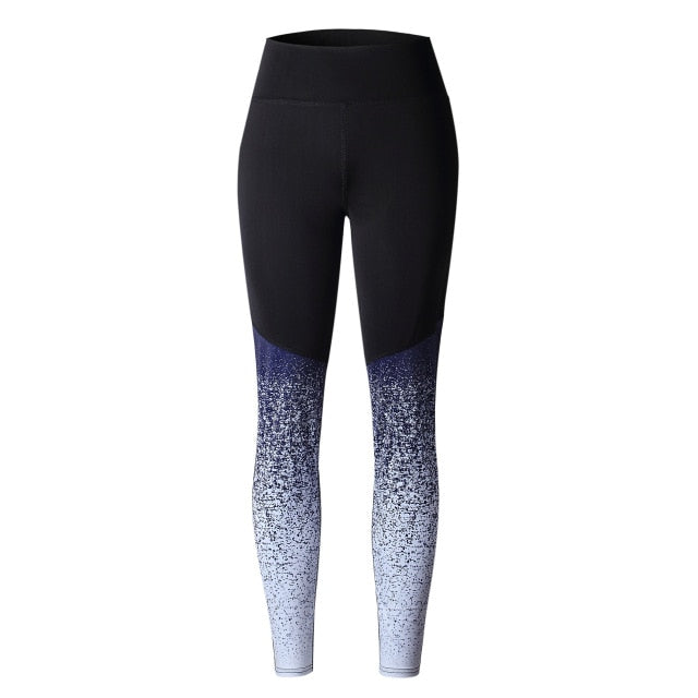 Women Trousers Casual Gradient Patchwork Fitness Leggings Print Slim Mid Waist Sexy Long Pants Work Out Push Up Leggins Black-geekbuyig