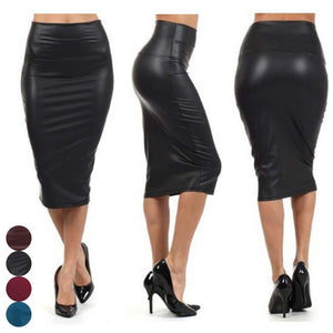 Newly Women High Waist Faux Leather Pencil Skirt Bodycon Skirt Solid Sexy OL Office Skirts-geekbuyig
