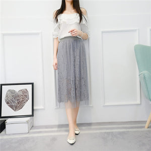 BJL 2018 Spring Fashion 3Layers Womens Lace Tulle Skirt Elastic High Waist Long Skirt Gray White E8714-geekbuyig
