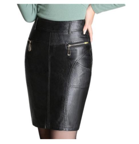 2018 Spring Autumn Womens High Waist Pu Leather Pencil Skirts M/4Xl Female Ol Skirt Black Zipper Casual Leather Skirt Saia K570-geekbuyig