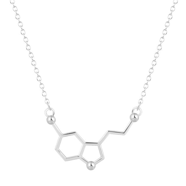 QIAMNI Serotonin Molecule Chemistry Geometric Polygon Pendant Necklace Dopamine Love Jewelry Christmas Party Gift for Girl Women-geekbuyig