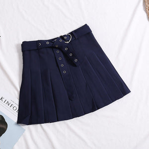Pleat Skirts Jupe Kawaii Harajuku Preppy Style Sashes Sweet Mini Skirts faldas Women School Uniforms Cute Ladies Saia Q2SKNM10-geekbuyig