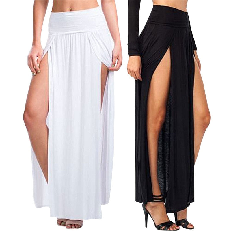 NEW 2018 Sexy Women Long Pleated Open Slit High Waist Solid Color Skirt women's skirt-geekbuyig