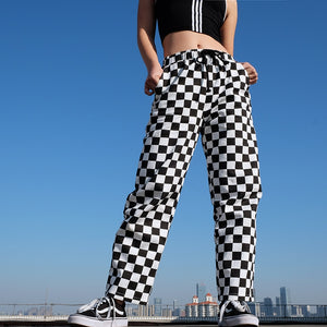 Black and White Plaid Pants Womens High Waist Checkered Straight Pants Casual Loose Fashion Trousers Pantalon Femme Sweatpants-geekbuyig
