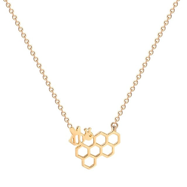 QIAMNI Unique Jewelry Cute Simple Honeycomb Beehive Hive Bee Honeybee Necklace Pendant Collares Fashion Gift for Girls and Women-geekbuyig