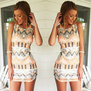 2018 Printing Sexy Women Dress Ladies Sleeveless Slim Bodycon Evening Party Mini Dresses-geekbuyig