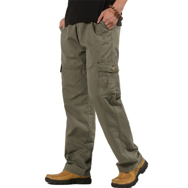 Men's Cargo Pants Casual Loose Military Tactical Pants Multi-Pocket Overall Sporting Baggy Male Long Trousers Plus Size 5XL 6XL-geekbuyig