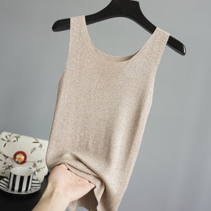 Solid Lurex Hot Sale Tank Summer New Style Elastic Thin Silky Handfeel Knitted Vest Sleeveless Tops 12 Colors-geekbuyig