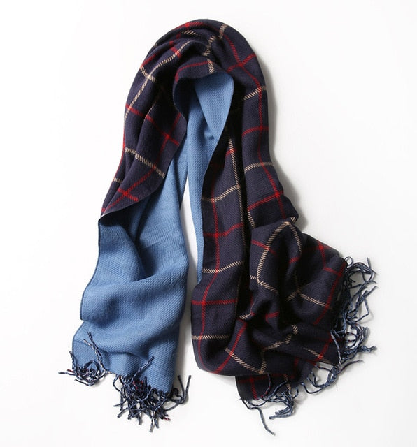 2018 luxury brand women knitted scarf fashion plaid winter cashmere scarves lady pashmina warm neck bandana Blanket shawls wrap-geekbuyig