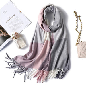 2018 warm winter scarf for lady fashion plaid cashmere scarves women shawls and wraps thick high quality pashmina neck bandana-geekbuyig