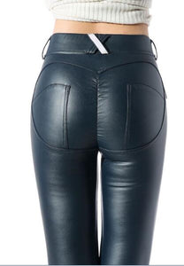 Sexy Plus Size PU Zipper Push Up High Rise Waist Pencil Pants Faux Leather Women Matte Leggings Capris Club Dance Wear F31