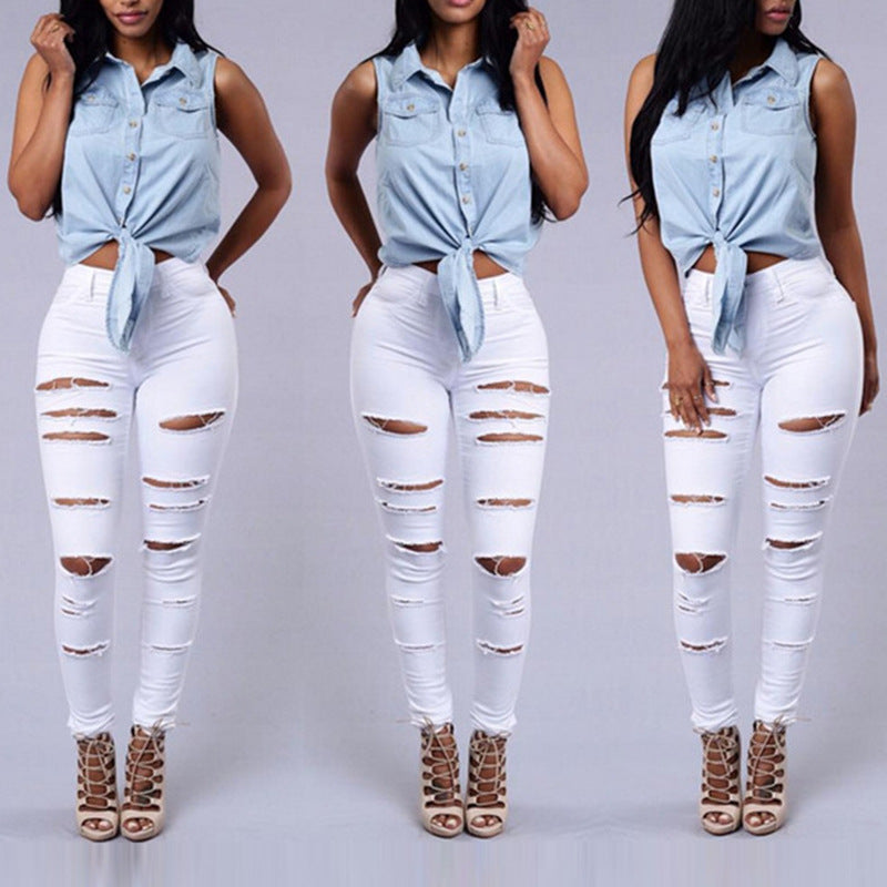 Summer Style White Hole Cool Denim High Waist Pants Capris Female Skinny Black Casual Jeans Ripped Jeans Women-geekbuyig