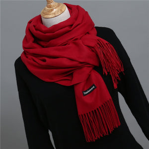 2018 winter scarf for women shawls and wraps fashion solid warmer thick cashmere scarves pashmina lady neck head stoles bandana