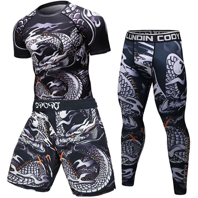 Brand New UFC BJJ MMA Work Out Compression Rashguard T shirt Men VS PK Exercise 3D Fitness Tights Bodybuild Cross fit Rash Guard-geekbuyig