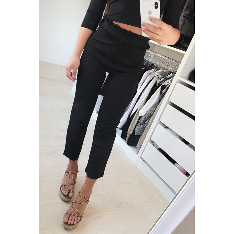 2018 New Black&White&Gray Suede Women Pants Waist Pleated Patchwork Trousers-geekbuyig