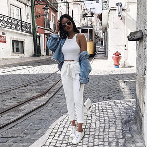 2018 new white OL chiffon bohemian waist pocket pants ladies fashion trend belt trousers casual comfortable nine pants-geekbuyig