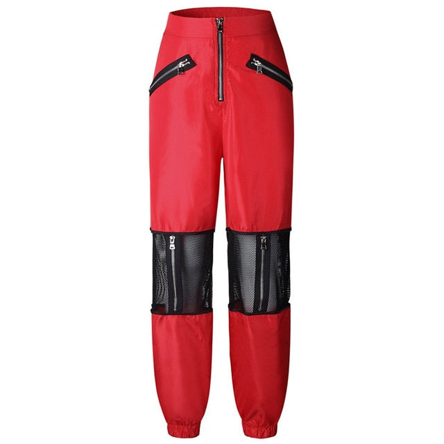 New Pants Women Fashion Clothing Red Black Mesh Patchwork Women Trousers Loose 2018 Casual High Waist Zipper Pencil Pants-geekbuyig