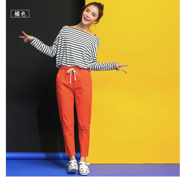 Women Cotton Spring Summer Thin Casual Pants Harlan-legged Harajuku Big Size Long Trousers Elastic Waist Ankle Length Haren Pant-geekbuyig