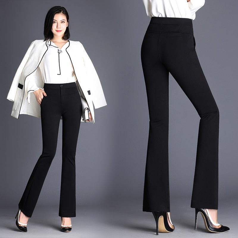 Summer Autumn Newest Plus Size S-4XL Trousers Women Flare Pants Office Lady Formal Pants High Waist Slim Work Pants Full Length-geekbuyig