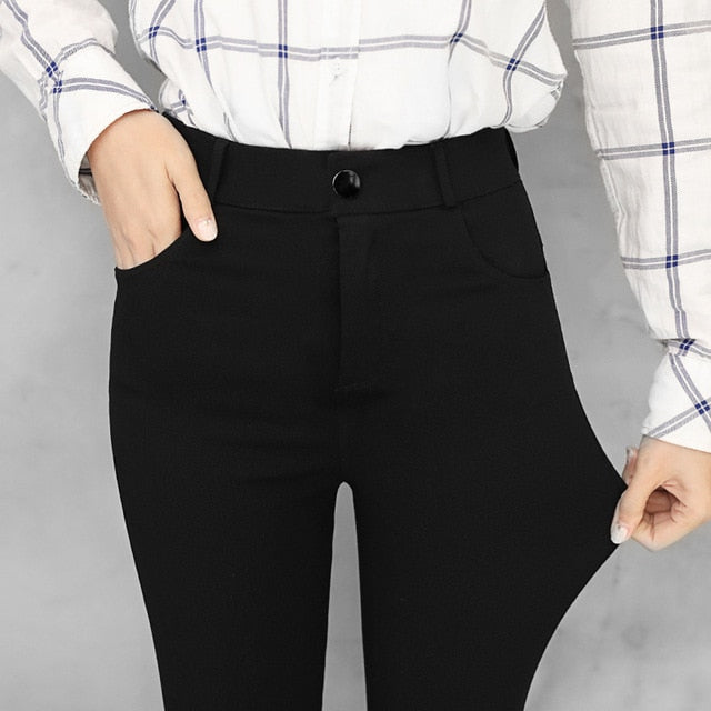 New wild black tight pencil pants Ladies Jean Trousers High Waist Straight Leg Zip Belt Plain Pants Women Elegant Crop Trousers-geekbuyig