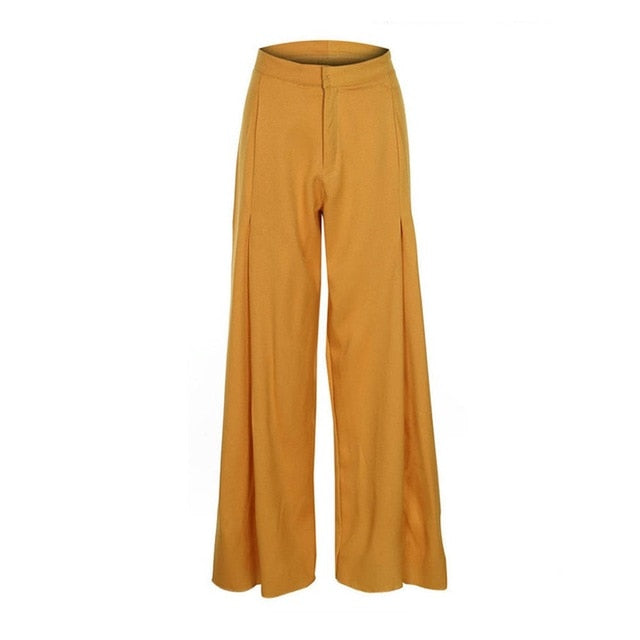 Kinikiss 2018 high waist women casual pants wide legs fall yellow autumn white loose button zipper fashion pleated female pants-geekbuyig