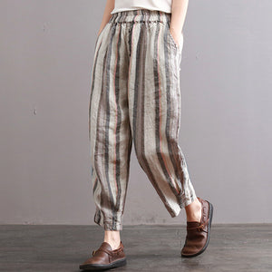 ZANZEA Women Summer Striped Long Harem Pants Casual Baggy Elastic Waist Pockets Trousers Cotton Linen Loose Pantalon Plus Size-geekbuyig