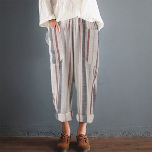 BLue Stripe Pockets High Waist Loose Casual Pants Cotton Linen Harem Pants Women Summer Wide Leg Pantalon Trousers Plus Size 4XL-geekbuyig