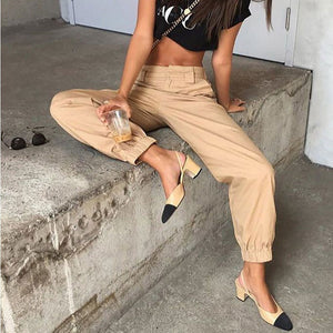 Summer High Waist Harem Women Slim Solid Color Cotton Cool Long Pants Hip Hop Streetwear with Chains YL3601-geekbuyig