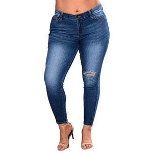Brand Embroidery Jeans High Waist Skinny Jeans Plus Size Winter Denim Pencil Pant Cotton Denim slim Trousers for #-Y-geekbuyig