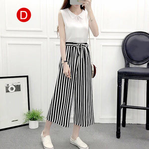 Newly Womens Wide Leg High Waist Casual Summer Thin Pants Loose Culottes Trousers-geekbuyig