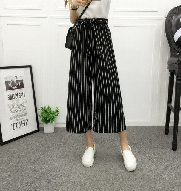 2018 Fashion Summer Wide Leg Pants Women High Waist Plaid Striped Loose Palazzo Pants Elegant Office Ladies Trousers Spring New